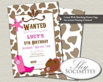 Pink Cowgirl Party Invitations | Country Western, Cowgirl Boots, Cowgirl Hat, Wanted Poster | Printed or Printable INSTANT DOWNLOAD