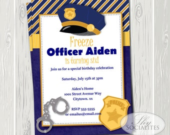 Police Invitation | Police Badge, Officer, Police Department, Deputy, Navy and Gold, Police Hat, Hand Cuffs, Police Party | Instant Download