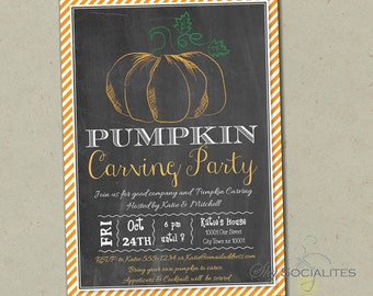 Chalkboard Pumpkin Carving Invitation | Halloween, Carving Party, Pumpkin Patch, Hay Ride, Pumpkin Party, Autumn Party | INSTANT DOWNLOAD