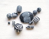SALE black and white polymer clay beads jewelry supply set of 13 black white beads components large chunky tribal geometric striped beads
