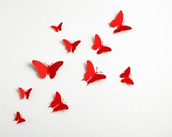 3D Wall Butterflies: 3D Butterfly Wall Art for Modern Home Decor in Ruby Red Metallic