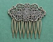 10Pcs Wholesale High Quality Antique bronze plated Brass Filigree hair comb Setting Nickel Free Lead Free(COMBSS-16)