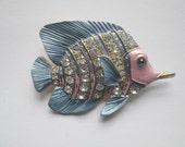 Vintage Fish Brooch Pink Blue Enamel Rhinestones Figural Jewelry