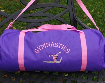 "Personalized 21""GYMNASTICS Bag Dance Bag/Ballet Bag/Purple Duffle Bag"