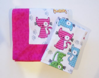 Double Flannel Receiving Blanket for Girl in Pink with Cats plus FREE burp cloth - Baby Blanket, Pink Blanket, Cat Blanket, Flannel Blanket
