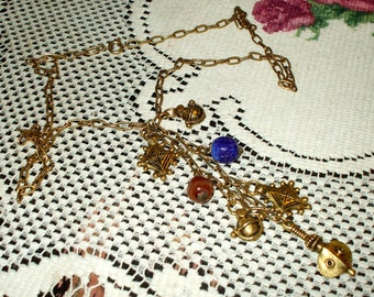 Vintage Necklace With Stones and Medieval Ornament Dangles Gold Tone Retro Victorian