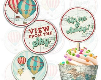 Hot Air Balloon Cupcake topper and wrap, Print your own