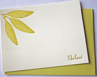Personalized Letterpress Stationery Hawaii Ti Leaves