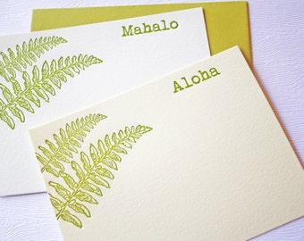 Letterpress Stationery Kupukupu Fern Aloha Mahalo Golden Green