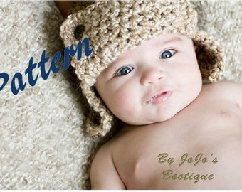 PDF Baby Aviator Pattern - Chunky Aviator Hat - Boy's Crochet Hat Pattern - Instant Download-by JoJosBootiqueC