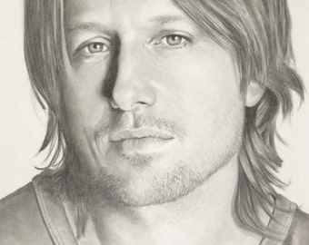 Keith Urban pencil portrait drawing celebrity