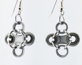 Bike chain earrings diamond shaped cycling jewelry, bicycle earrings, bike jewelry, bicycle gifts, fixie earrings, bmx earrings