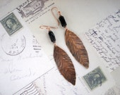 Black and Copper Leaf Sheet Metal Earrings