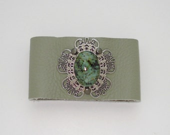 African Turquoise & Green Leather Cuff Bracelet Free Shipping