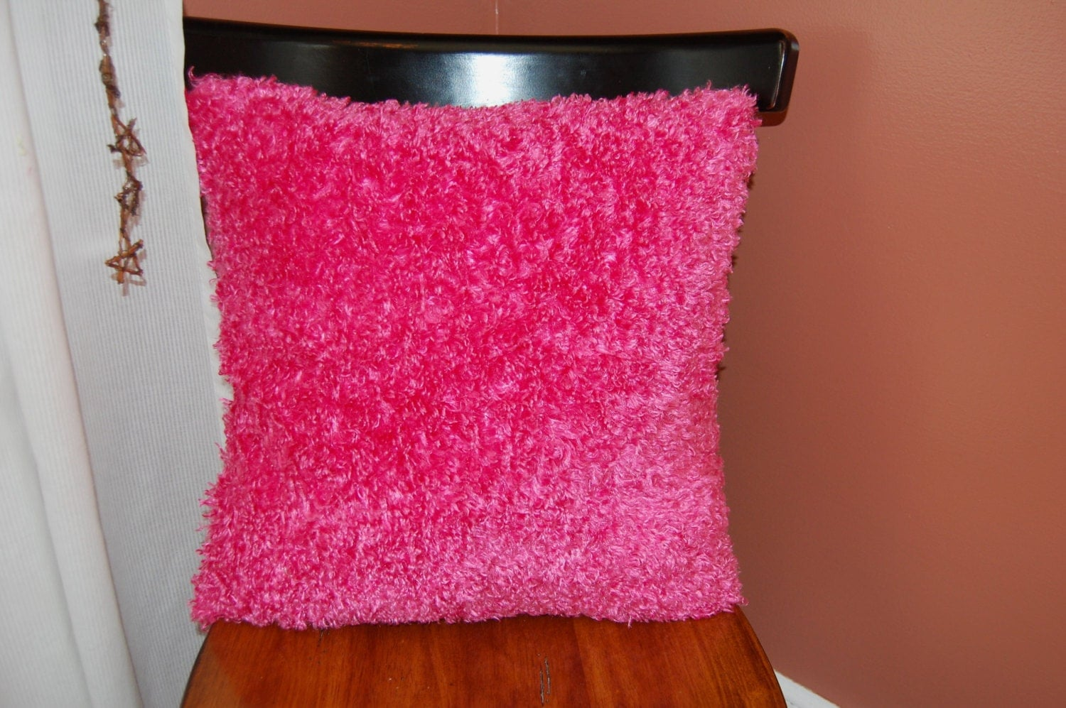 Fluffy Funky Pink Pillow Decorative Super Soft Pink Fuzzy