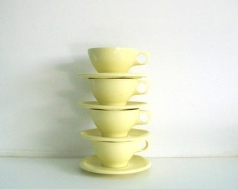 Bootonware Yellow Melmac Cups & Saucers