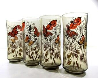Libbey Retro Smokey Grey Butterfly & Wheat Glassware
