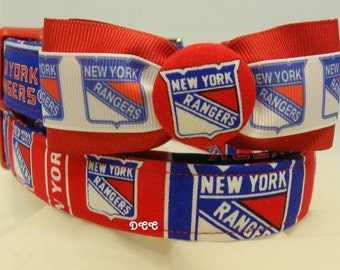 Dog Collar New York Rangers Bow Tie Sports Hockey Blue Red Adjustable Dog Collar D Ring Handmade Choose Size Accessory Accessories Pet Pets