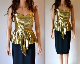 Vintage Gold Metallic 80s Prom Dress Size XS Gold Lame Strapless 80s Party Dress Size Small