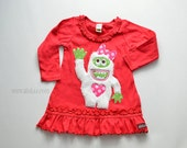 Size 18m Marcia the Monster Dress, Runs Small 12m, Valentines Dress, Red Knit Ruffle Dress, Toddler, Applique Ready to Ship, Yeti
