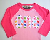 Size 18m Girls First Birthday Shirt 1st Birthday Raglan Tee Heart Birthday One Shirt Rainbow Hearts Applique Ready to Ship