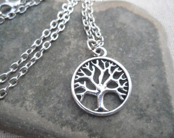Silver Tree of Life Pendant Necklace - Silver Tree Jewelry - Simple Everyday Silver Necklace