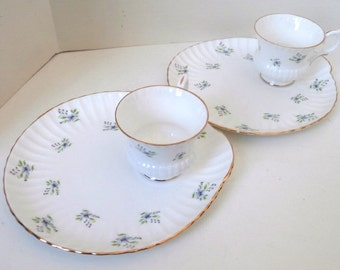 Rare Crown Staffordshire Luncheon Set for 2 Charmaine Pattern