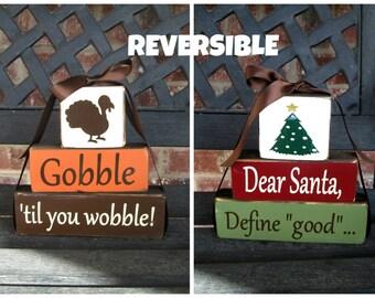 REVERSIBLE Thanksgiving and Christmas  CHUNKY stacker blocks
