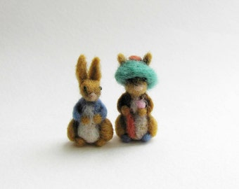 Benjamin Bunny needle felted miniature