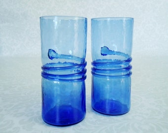 Vintage Signed Coil Drink Tumblers, Mid Century Handblown Rigaree Coil Snake Drink Glasses, Cobalt Blue