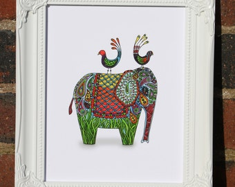 Elephant & Birds Print - Fine Art Giclee Print - Mixed Media