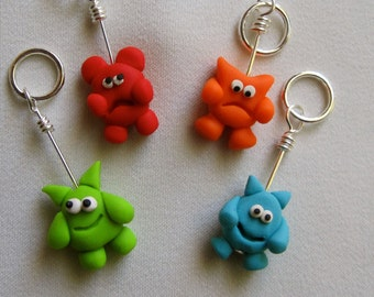 4 Little Monster Stitch Markers:  Set of 4 Monster Knitting Stitch Markers