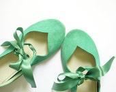 Heart Shaped Soft Mint Green Handmade Ballet Flats