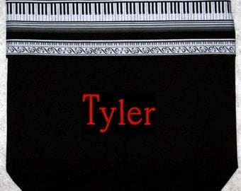PIANO MUSIC BaG personalized boys music lesson book bag keyboard embroidered black canvas just for guys kids recital birthday gift idea