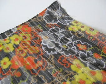 So terrible it's great sheer black 70s vintage floral gold lame stripe orange yellow white