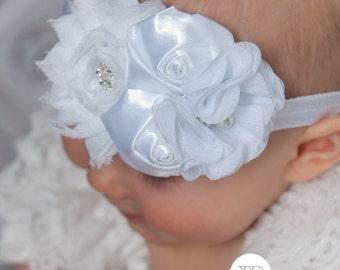 White Baby headband, baby headbands,newborn headband,baptism headband, Christening Headband, baby headband Easter Headband, Baby Hair Bows.