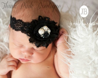 Baby  Headband, Black headband, baby headbands, shabby chic headband,newborn headband, Infant headband, Christmas Headband, Flower Headband.