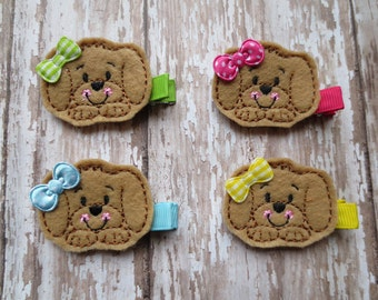 Gus Puppy Felt Embroidered Hair Clip - Clippie - Feltie Clip - Pick Color