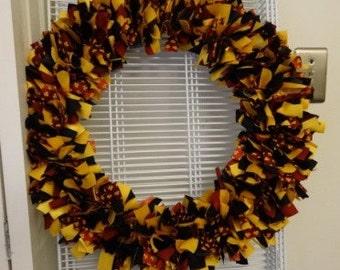 Black, Yellow, Maroon Fall Wreath