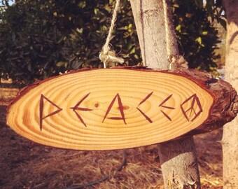 PEACE wood sign~