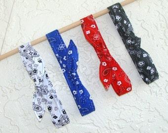 Headband Set of 4 Bandanna Fabric in White Blue Red Black Bandana Girls Teen Women Hair Accessory Gift Headscarf Hairband