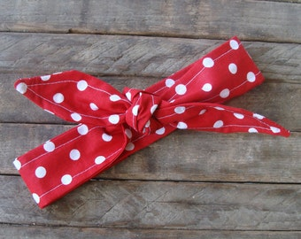 Bow Headband Rockabilly Rosie the Riveter Halloween Costume Pin Up Red Polka Dots Teen Women Hair Accessory Headscarf