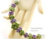 Purple Beaded Beads set of 13 - by Sharri Moroshok - purple green silver
