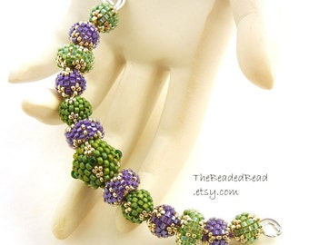 Purple Beaded Beads set of 13 - by Sharri Moroshok - purple green silver