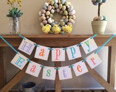 Easter Decoration Happy Easter Banner and Garland / Spring Celebrations / Happy Easter Garland / Pastels