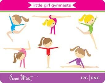 Little Girl Gymnasts Clip Art