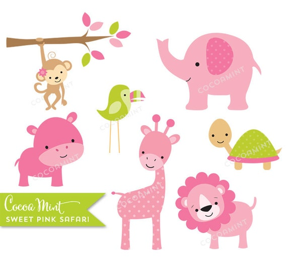 Sweet Pink Safari Clip Art