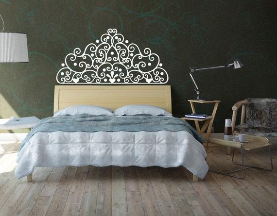 Bedroom Headboard Wall Decor : Items similar to wall decal headboard vinyl