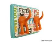 Dog Leash Holder - Double Tail - Bahama Blue Dogcentric - Personalize with optional letter tiles