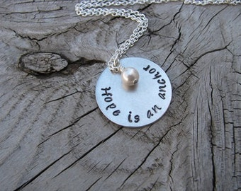 "Hand-Stamped Inspiration Necklace- ""Hope is an anchor"" with an accent bead in your choice of colors"